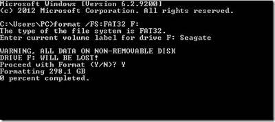 Định dạng ổ cứng FAT32 Sử dụng DOS